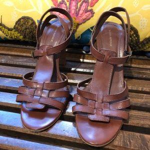 Banana Republic Cognac Leather Heel Sandal Size 9